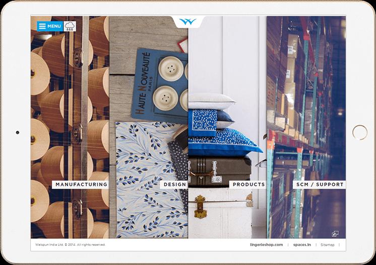 Welspun India Website in iPad