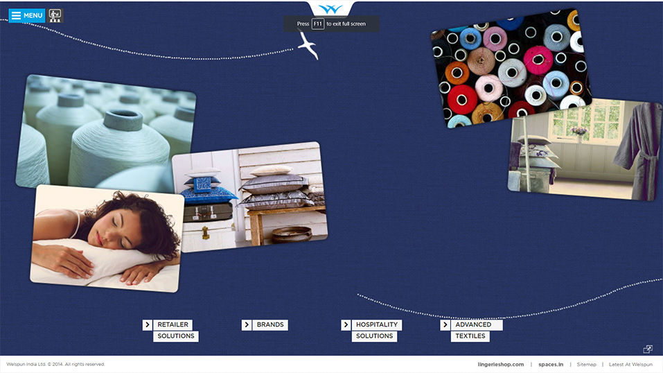 Welspun India Website Design Screenshot