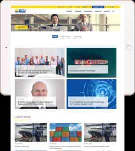 Ecu Worldwide Web Design News Page shown in iPad