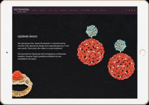 Notandas Website Design in Ipad