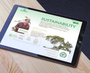 Ipad on table showing Goodricke Corporate Website