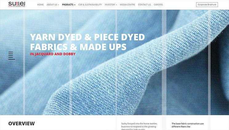 Sutlej Textiles Yarn Page Design