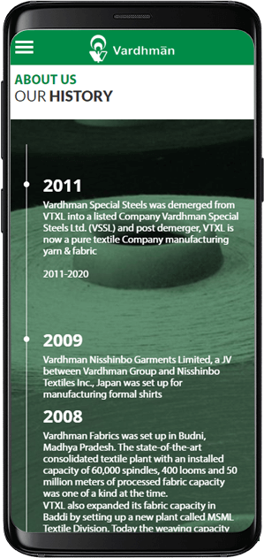 Vardhman Website History Page Design in Mobile