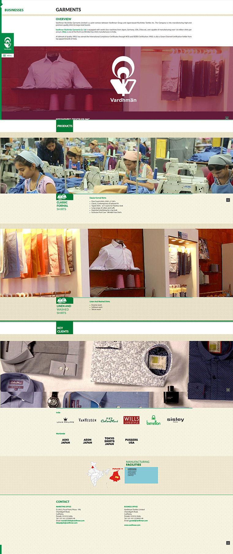 Vardhman Website Garment Page Design