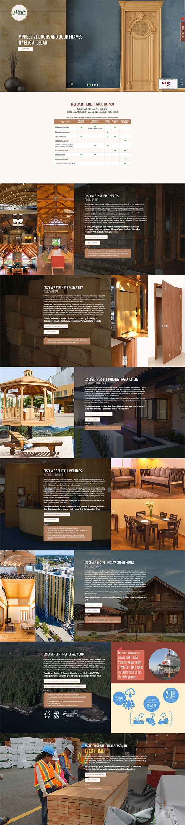 Canadian Wood Landing Page Design