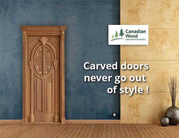 Canadian Wood Brown Beautiful Carved Door