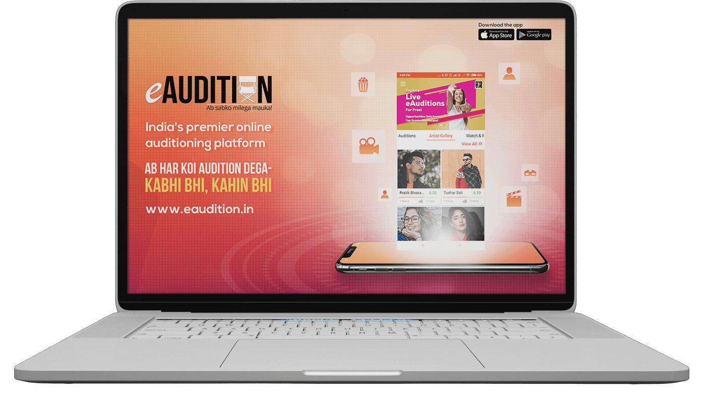 eAudition Landing Page on Laptop