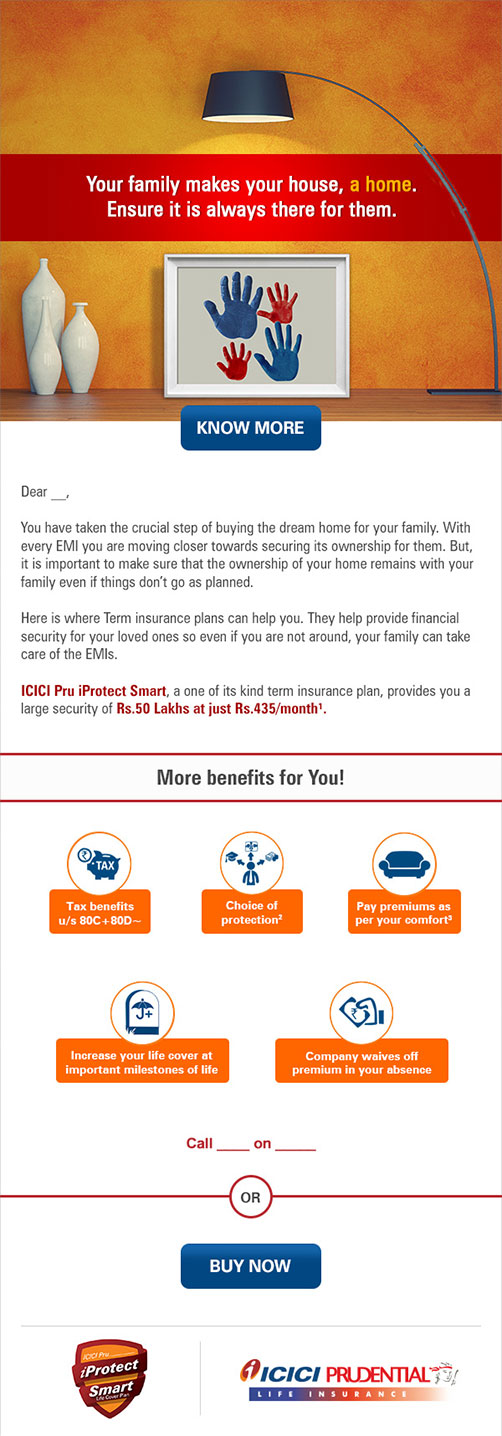 ICICI Pru Home Owners Campaign Emailer Design
