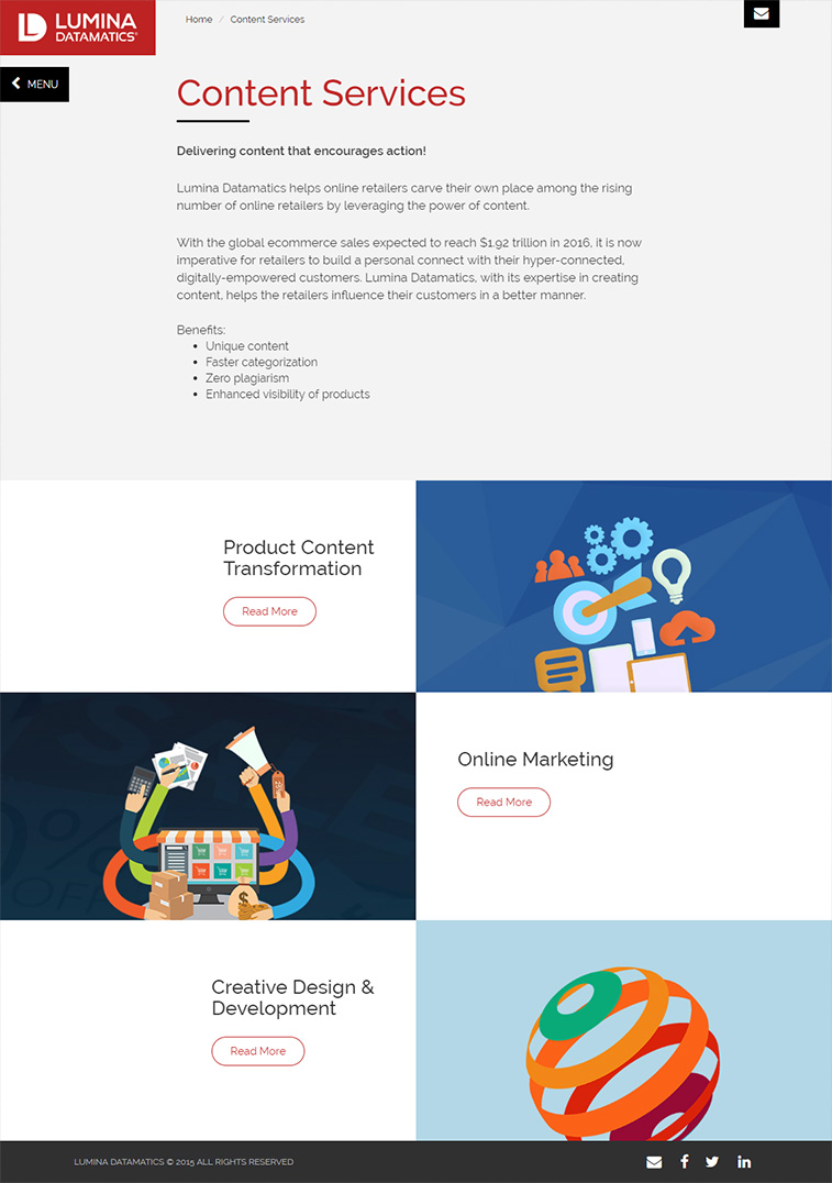 Lumina Datamatics Content Services Page Design