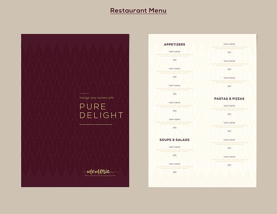 Memoria Restaurant Menu Design