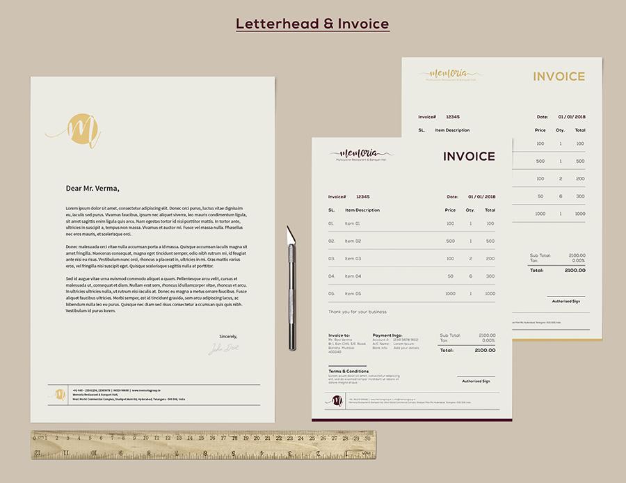 Memoria Restaurant Letterhead / Invoice Design
