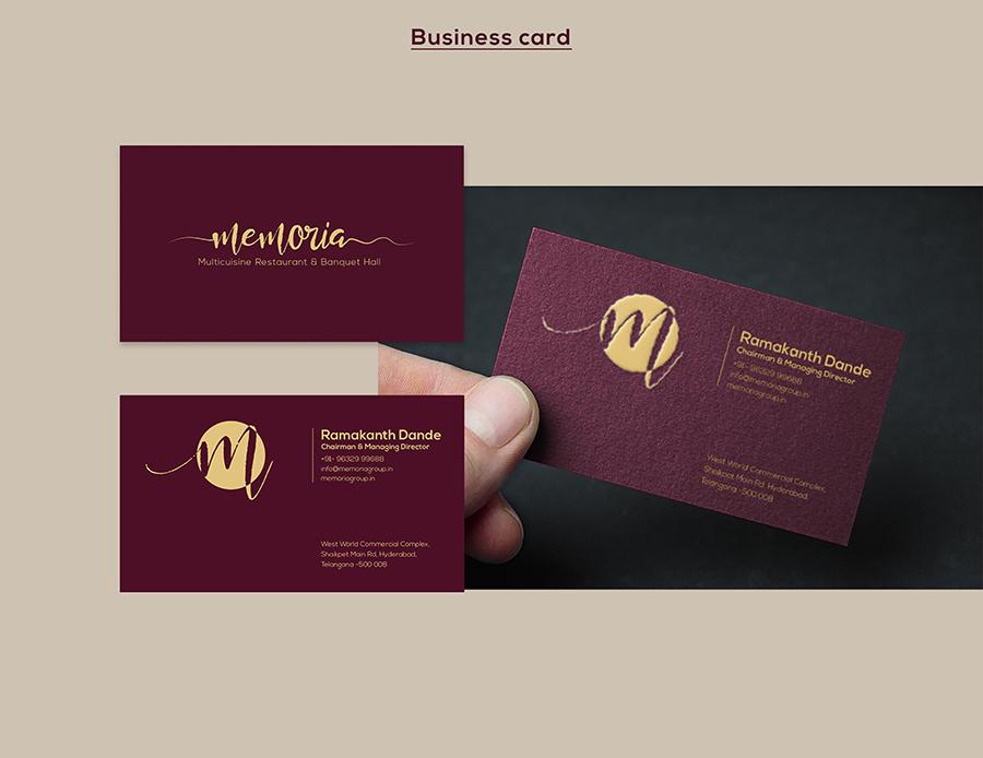 Memoria Restaurant Business Card Design
