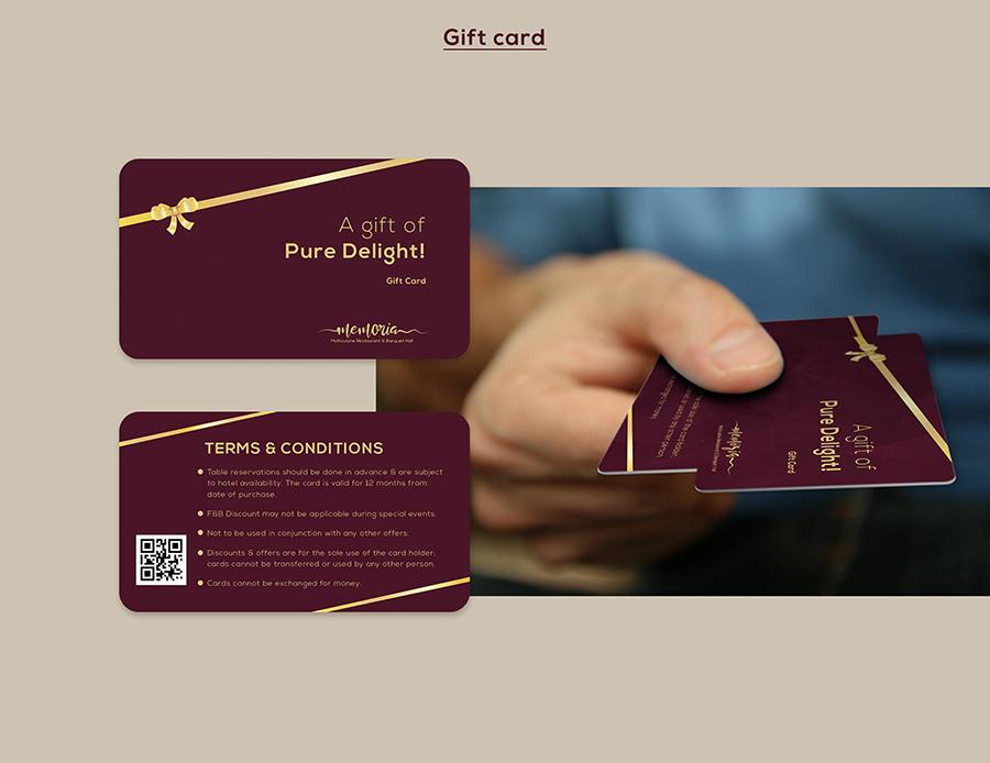Memoria Restaurant Gift Card Design